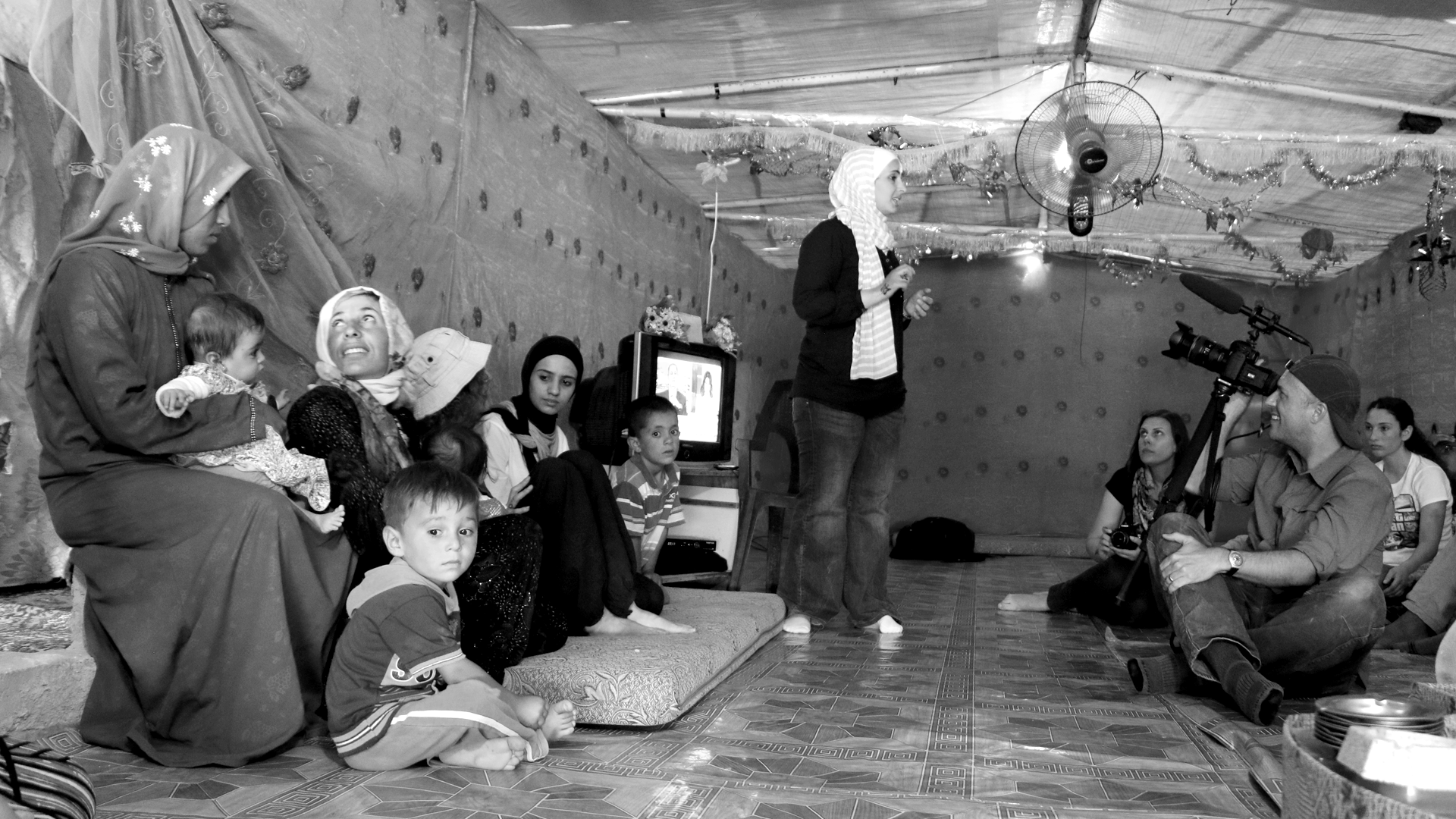Filmmaker Dan Evans working with Syrian refugees in northern Jordan