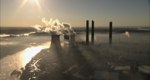 Aerial view of coal-fired power plant in West Virginia