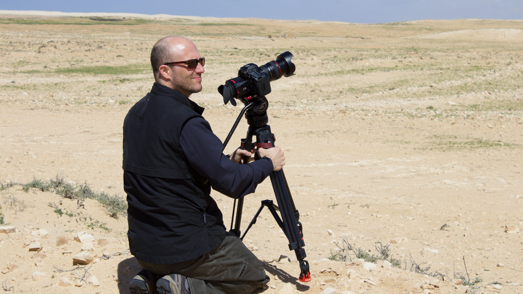 Filmmaker Dan Evans on location near Ajdabiya, Libya